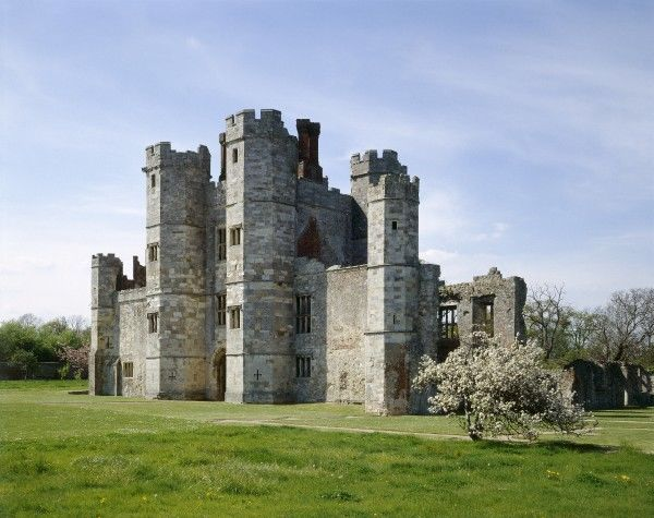 TITCHFIELD ABBEY, Hampshire. View of the gatehouse from the South East. The ruins of a 13th century Premonstratensian abbey, later converted into a Tudor Mansion. The church was rebuilt as the grand turreted gatehouse