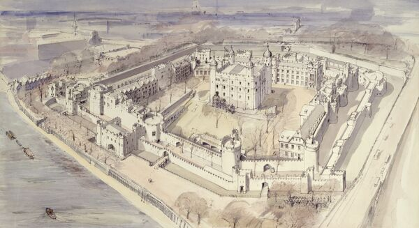 TOWER OF LONDON. Aerial reconstruction drawing of Wakefield Tower & Watergate & Bell Tower c.1270 by Terry Ball (English Heritage Graphics Team)
