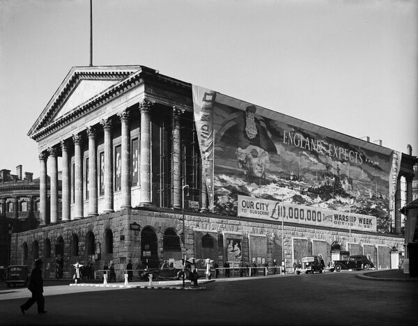 TOWN HALL, Birmingham, West Midlands. View of the Town Hall with banner covering one side, promoting Warship Week, October 18th - 26th. 'England expects our city to subscribe £10,000,000...' Photographed by G B Mason in 1941