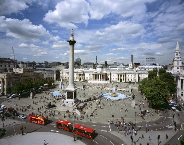 TRAFALGAR SQUARE, City of Westminster, London. An elevated view of the square showing Nelson's Column & National Gallery