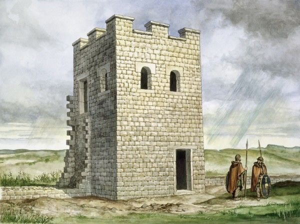 HADRIAN'S WALL: HOUSESTEADS ROMAN FORT (VERCOVICIUM), Northumberland. Reconstruction drawing of Turret 36b by Philip Corke. hadrian