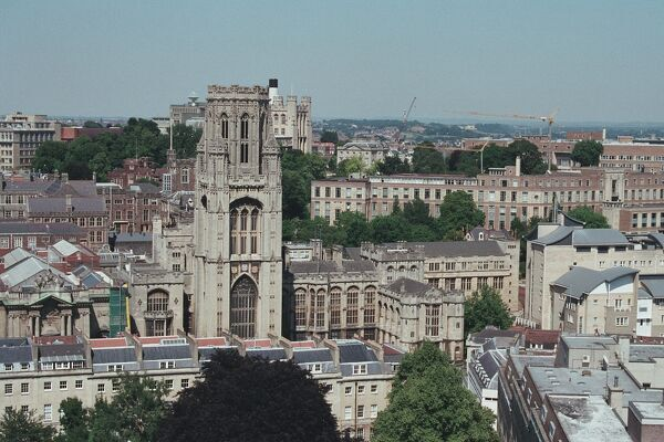 The Bristol skyline from Cabot's Tower showing part of the University in the foreground. IoE 380278
