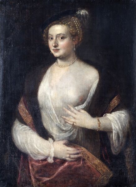 "APSLEY HOUSE, London. ""An Unknown Lady called 'Titian's Mistress'"". Titian and his studio. Previously part of the Spanish Royal Collection. Captured at Vitoria 1813. WM 1620-1948"