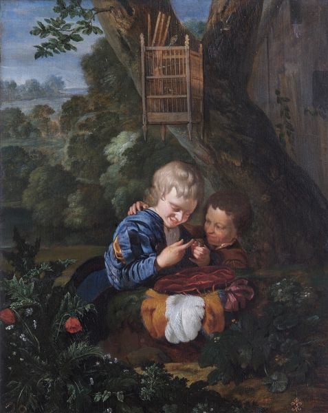 "APSLEY HOUSE, London. ""Boys with a Trapped Bird"" by Eglon Hendrik Van Der NEER (1634-1703). Provisionally from Isabella Farnese Collection, La Granja. Captured at Vitoria in 1813. WM 1587-1948"