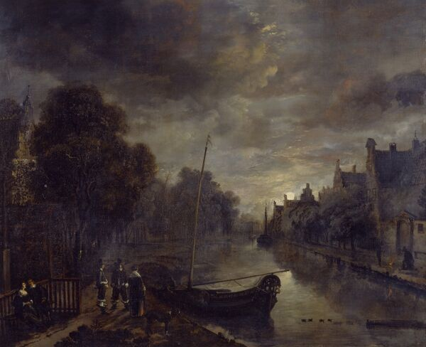"BRODSWORTH HALL, South Yorkshire. ""A Canal in a Dutch Town by Moonlight"" by Aert Van Der NEER (1603/4-77)"