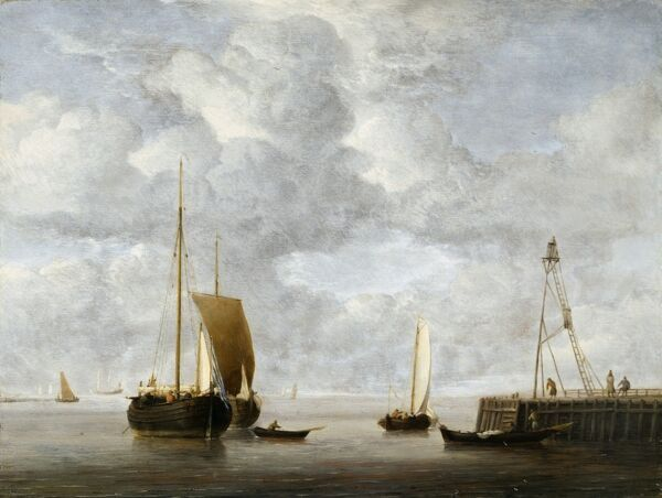 "KENWOOD HOUSE, THE IVEAGH BEQUEST, London. ""A Dutch Hoeker at Anchor Near a Pier"" c.1665 by Willem VAN DE VELDE (1633-1707), oil on panel IBK 961"