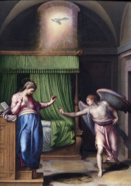 "APSLEY HOUSE, London. ""The Annunciation"" by Marcello VENUSTI (1512-79). WM 1616-1948. Provisionally Spanish Royal Collection. Captured at Vitoria 1813"