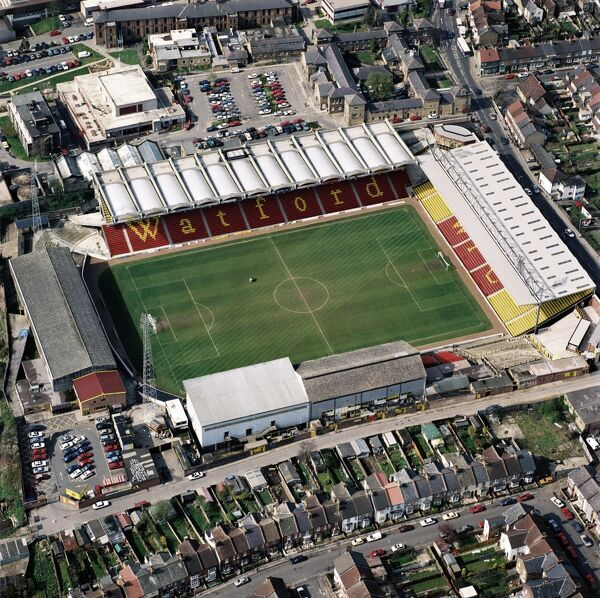 VICARAGE ROAD, Watford. Aerial view of the home of Saracens RFC and Watford FC. Photographed in 1994. Aerofilms Collection (see Links)