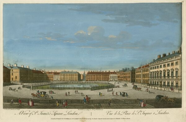 "MAYSON BEETON COLLECTION. ""A View of St James's Square, London"". Coloured engraving by T Bowles c. 1753"