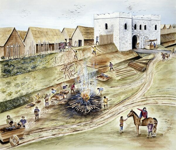 Reconstruction drawing by Chris Evans, English Heritage Graphics Team. 'Refurbishing the City Defences at York during the Viking Age&#39