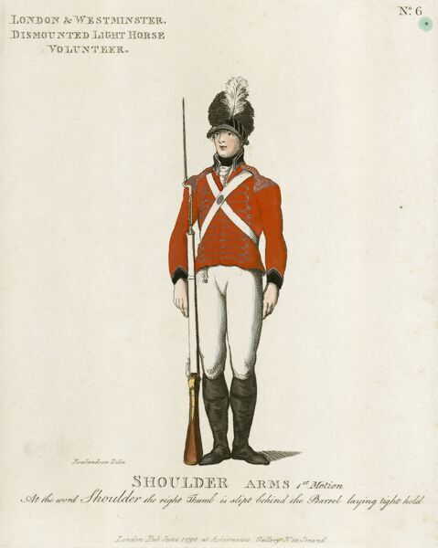 MAYSON BEETON COLLECTION. Loyal Volunteers of London 1798. A volume showing the uniforms of the London militias. This plate shows the uniform of the London and Westminster Dismounted Light Horse. Engraving from the Mayson Beeton Collection