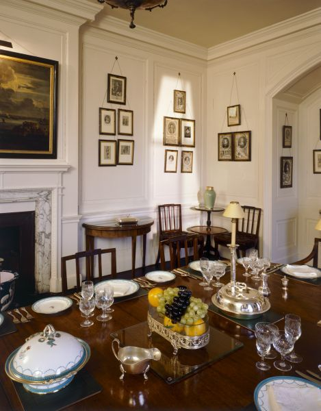 WALMER CASTLE, Kent. Interior view.The Dining room table set for dinner, with the Queen Mother's silver & china ware. As Lord Warden of the Cinque Ports, the Queen Mother entertained guests at Walmer