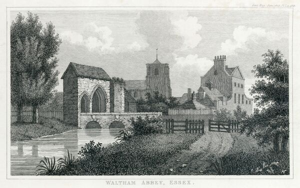 WALTHAM ABBEY GATEHOUSE, Essex. Engraving dating from 1825 of the gatehouse and bridge. Showing the church tower and other buildings in the background. MAYSON BEETON COLLECTION