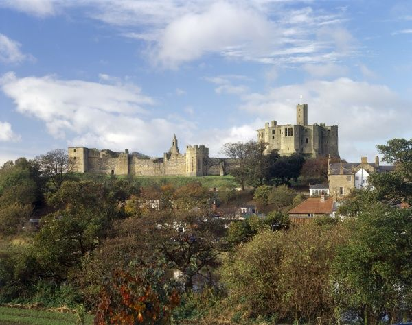 WARKWORTH CASTLE, Northumberland. View of whole castle from the East