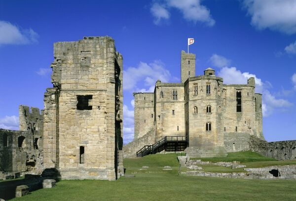 WARKWORTH CASTLE, Northumberland. View from the south of the Lion Tower and keep