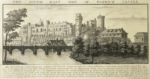 "WARWICK CASTLE, Warwickshire. ""The South East View of Warwick Castle"". Engraving by Samuel and Nathaniel BUCK, 1729"