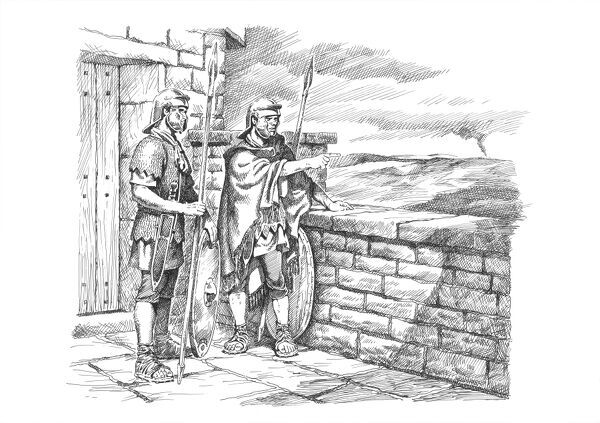 Hadrian's Wall. Reconstruction line drawing of soldiers keeping watch. Based on Denton Hall Turret (7b) in Newcastle upon Tyne. Attributed to Philip Corke. c.1985 - c.2000. hadrian
