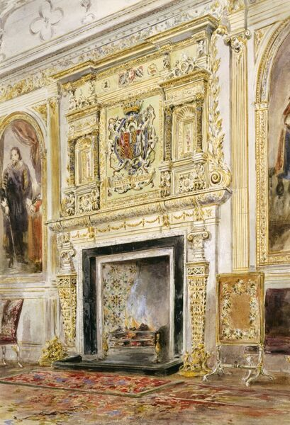 AUDLEY END HOUSE, Essex. Interior view. Late 19th century watercolour of the saloon fireplace, possibly by Emily Gonin, wife of the 7th Lord Braybrooke