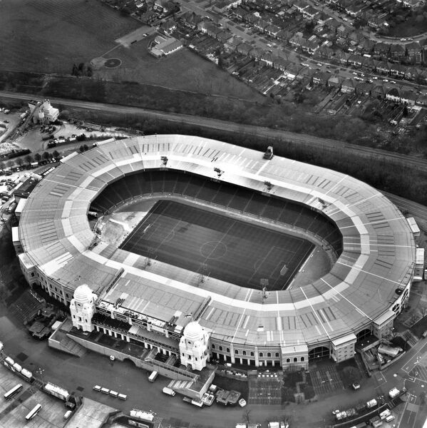 WEMBLEY STADIUM, London. An aerial view of the old sports ground in 1999. Wembley played host to several matches including the final of the 1966 football World Cup