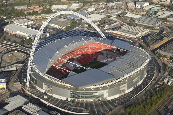 WEMBLEY STADIUM, London. Aerial view. New Wembley was completed in 2007 with a capacity of 90,000