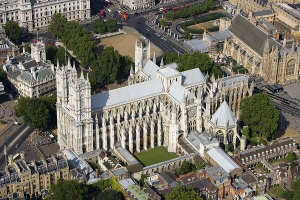 WESTMINSTER ABBEY, London. Aerial view