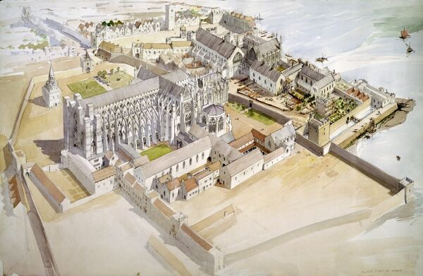 "JEWEL TOWER, WESTMINSTER, London. ""Birds eye view c. 1510"". A reconstruction drawing by Terry BALL (English Heritage Graphics Team)"