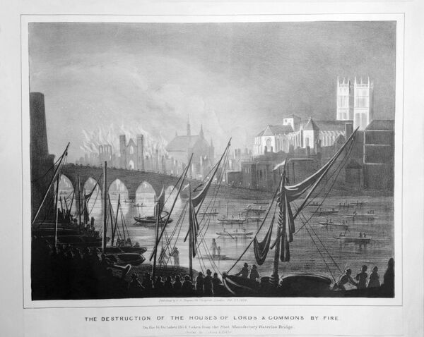 Burning of Parliament, London. Copy of an etching looking north across the River Thames showing the destruction of the Houses of Lords and Commons by fire on 16th October 1834. The towers of Westminster Abbey are lit up by the blaze