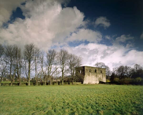 WHALLEY ABBEY GATEHOUSE, Lancashire. General view of the 14th century gatehouse of the nearby Cistercian abbey