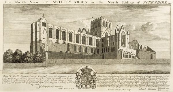 "WHITBY ABBEY, North Yorkshire. ""The North View of Whitby Abbey in the North Riding of Yorkshire"" Engraving by Samuel Buck 1711"