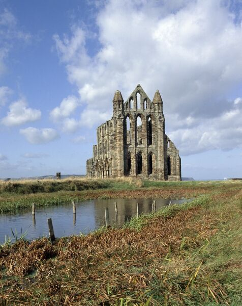 WHITBY ABBEY, North Yorkshire. General view from the east with the fishpond in the foreground