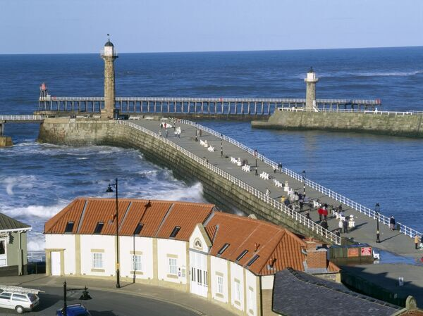 WHITBY, North Yorkshire. View of Whitby harbour entrance
