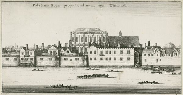 Palace of Whitehall from the River Thames, Westminster, London. Whitehall Palace was the main royal residence in London between 1530 and 1698. The Latin text reads: 'The palace of the King near London, commonly known as Whitehall.' Etching