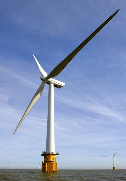 WIND TURBINES, Kent. Detailed view of two wind turbines that form a small part of the Thanet Offshore Wind Farm