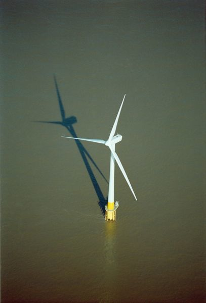 SCROBY SANDS WIND FARM, near Great Yarmouth, Norfolk. Aerial view of one of the wind turbines
