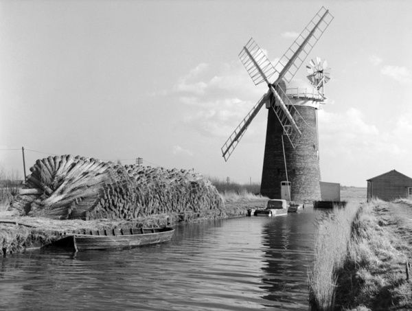 Horsey Drainage Mill, Norfolk. A 4 storey red brick tower wind pump with a boat shaped cap, petticoat, gallery and four sails
