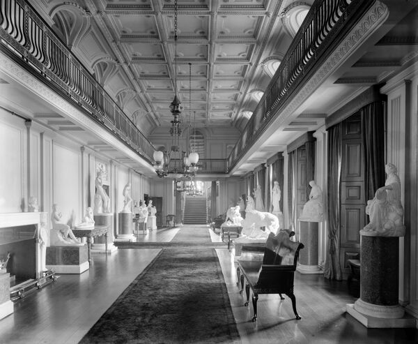 WITLEY COURT, Worcestershire. Interior view c.1920. The Sculpture Gallery. Photographed by Bedford Lemere