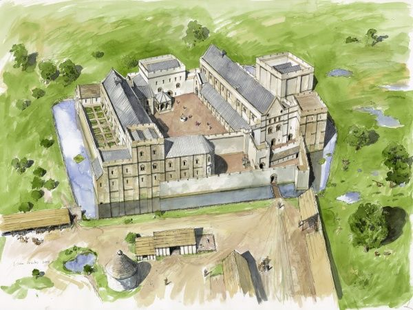 WOLVESEY: OLD BISHOPS PALACE, Winchester, Hampshire. Aerial reconstruction drawing by Liam Wales of Wolvesey Palace from the south c.1170