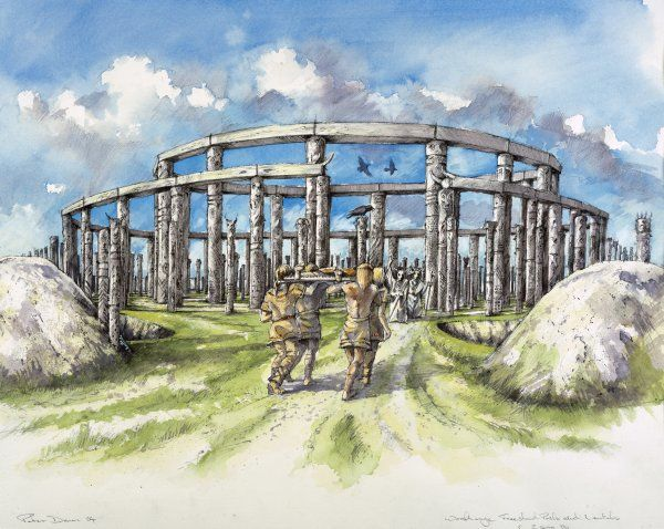 WOODHENGE, Wiltshire. Reconstruction drawing by Peter Dunn, English Heritage Graphics Team, showing the freestanding posts and lintels in c2400 BC