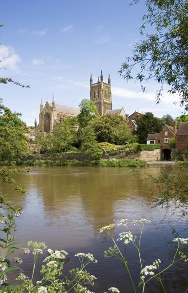 WORCESTER CATHEDRAL, Worcestershire. General view of the cathedral and the River Severn