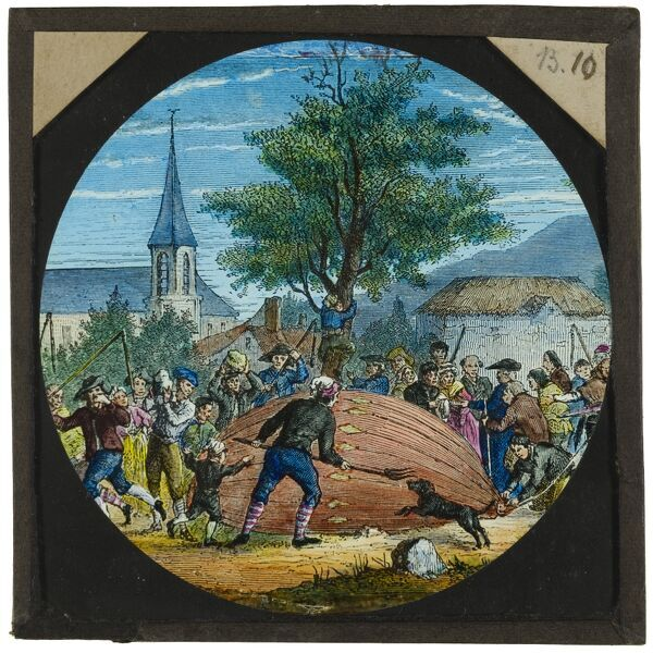 Tales of balloon flight. This unmanned balloon, 'Le Globe' was launched by Jacques Charles and the Robert brothers on the Champ de Mars, Paris, on 27th August 1783, landing in Gonnesse after a forty-five minute flight, where it terrified
