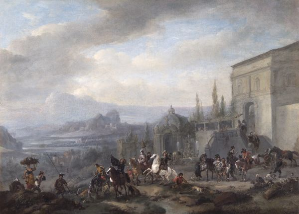 "APSLEY HOUSE, London. ""The Departure of a Hawking Party"" by Philips WOUWERMAN (1619-1668) c.1650s. WM 1650-1948. Spanish Royal Collection, Captured at Vitoria 1813. Wouverman"