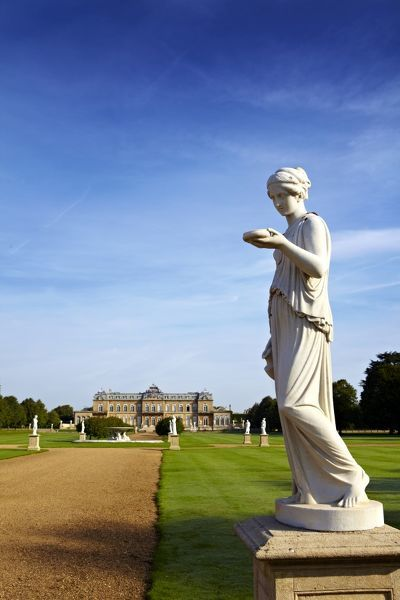 WREST PARK HOUSE AND GARDENS, Silsoe, Bedfordshire. View from the south towards the house, showing the statue 'Hebe' by R.J Wyatt in the foreground