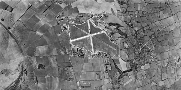 WROUGHTON, Wiltshire. This vertical photograph (taken in 1944 by the US Army Air Force) shows Barbury Castle hillfort, RAF Wroughton (centre), and the village of Wroughton