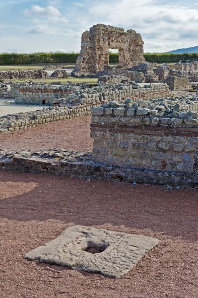 WROXETER ROMAN CITY, Shropshire. View across the bath complex looking towards the Old Work