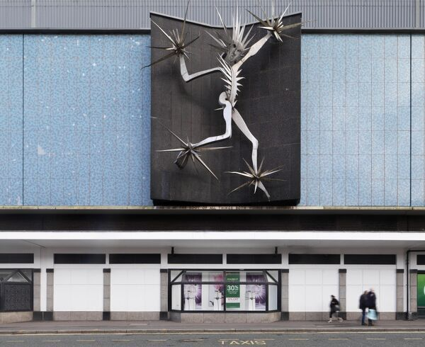 Debenhams, (former Lewis's) Stafford Street, Hanley, Stoke On Trent, Staffordshire.   Man of Fire by David Wynne, 1964, made from anodised aluminium. Photographed by James O. Davies, 2015