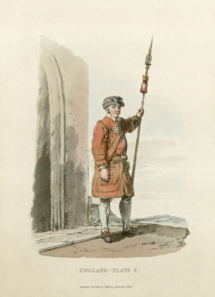 MAYSON BEETON COLLECTION. St James Palace, London 1813. A Yeoman of the Guard on duty. These royal bodyguards retain their Tudor-style dress to this day. Engraving from the Mayson Beeton Collection