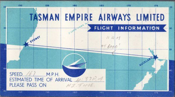 Tasman Empire Airways Aukland, New Zealand to Sydney, Australia