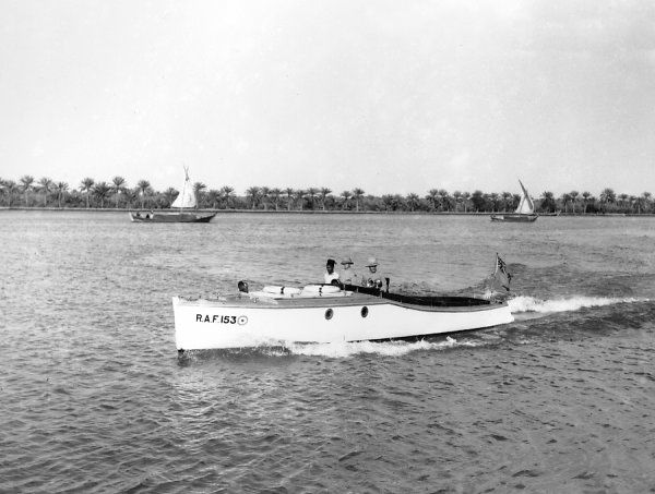 35' Motor Boat (153) of the Royal Air Force on the river at Basrah, Iraq, 1939