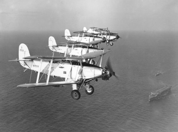 Blackburn Baffin aircraft of 811 Squadron flying in formation above HMS Furious, 1935
