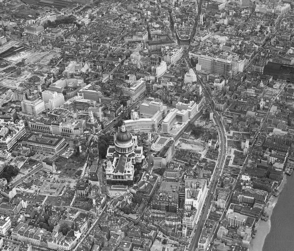 The City of London in August 1957, with St Paul's Cathedral in the foreground